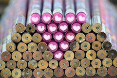 Bleistift und Liebe Stockbild