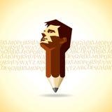 Bleistift- und Mannkopf Stockbilder
