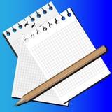 Bleistift und Papier Stockfoto