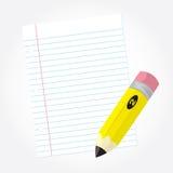 Bleistift und Papier Stockbild