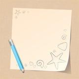 Bleistift- und Papieranmerkung über Strand stock abbildung