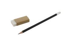 Bleistift und Radiergummi lokalisiert auf weißem Hintergrund Lizenzfreie Stockfotos