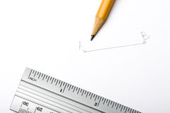 Bleistift und Richtlinie Stockfoto