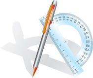 Bleistift und Winkel lizenzfreie abbildung