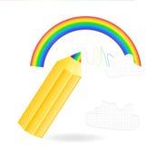 Bleistift zeichnet einen Regenbogen Stockfotografie