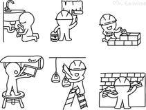 Bleistift-Zeichnung als Vektor des Technikers Stockfotos