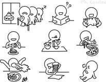 Bleistift-Zeichnung als Vektor von isst Charakter Stockfotos