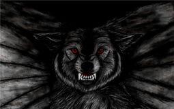 Bleistift-Zeichnung der Nahaufnahme eines bedrohlichen schwarzen Fliegenwolfs mit roten Augen auf schwarzem Hintergrund Stockfotos