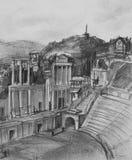 Bleistift-Zeichnung des antiken Theaters in Plowdiw Stockfotografie