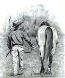 Bleistift-Zeichnung des Cowboy-führenden Pferds Lizenzfreies Stockbild