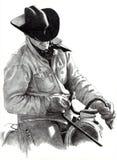 Bleistift-Zeichnung des Cowboys auf Pferd Stockbilder