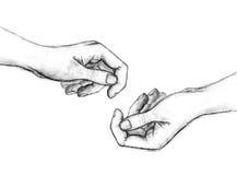 Bleistift-Zeichnung von Händen Stockfotos