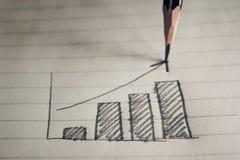 Bleistift-Zeichnungs-Geschäftsdiagramm auf Notizbuchpapier-Geschäftskonzept Lizenzfreie Stockfotos