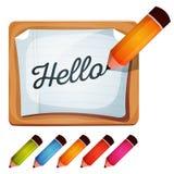 Bleistift-Zeichnungs-Wort auf leerem Zeichen Stockfotografie