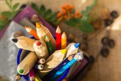 Bleistiftbuchkonzept-Rückseitenschule Stockfotografie