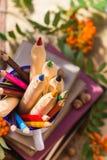 Bleistiftbuchkonzept-Rückseitenschule Lizenzfreies Stockfoto