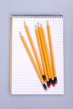 Bleistifte auf Notizbuch Stockfotos