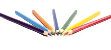 Bleistifte auf weißem Hintergrund, zurück zu Schule Lizenzfreie Stockfotografie