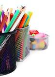 Bleistifte in den Körben. Stockfotografie