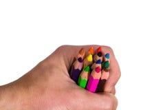 Bleistifte in der Hand 1 Stockfotos