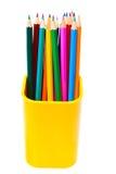 Bleistifte in der Unterstützung lokalisiert auf Weiß Lizenzfreie Stockfotos