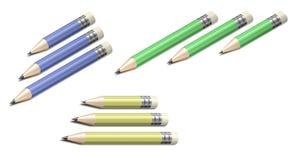 Bleistifte der verschiedenen Farben und der Größen Stockfoto