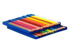 Bleistifte in einem Kasten Stockfoto
