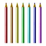 Bleistifte gefärbt auf weißem Hintergrund Stockbilder