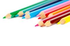 Bleistifte gruppieren lokalisiert auf Weiß Lizenzfreies Stockfoto