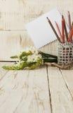 Bleistifte im Glas und in den Blumen, selektiver Fokus Lizenzfreie Stockfotografie