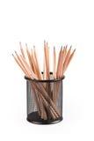 Bleistifte im Metalltopf Lizenzfreies Stockfoto