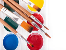 Bleistifte, Lacke und Pinsel Lizenzfreie Stockfotos