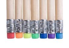 Bleistifte mit Radiergummis Stockbilder