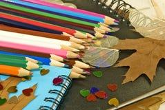 Bleistifte, Notizbücher, Herbstlaub Stockbilder