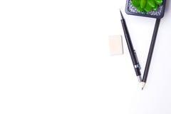 Bleistifte, Notizbuch und Kaktus liegen auf dem Desktop Lizenzfreies Stockfoto