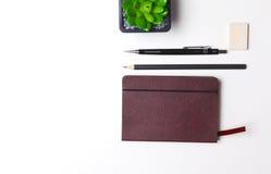 Bleistifte, Notizbuch und Kaktus liegen auf dem Desktop Stockfoto