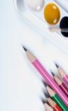 Bleistifte und Aquarelle Zurück zu Schule Lizenzfreie Stockbilder