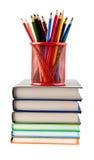 Bleistifte und Bücher Lizenzfreies Stockbild