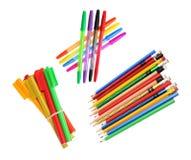 Bleistifte und Ballpoint-Federn stockfoto