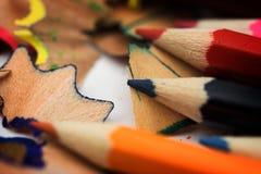 Bleistifte und Chips Stockbilder