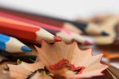 Bleistifte und Chips Lizenzfreie Stockbilder