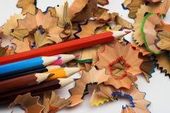 Bleistifte und Chips Stockbild