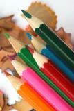 Bleistifte und Chips Lizenzfreie Stockfotografie