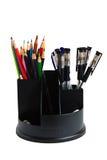 Bleistifte und Federn in einem Glas Lizenzfreies Stockbild
