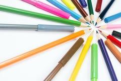 Bleistifte und Filzstifte Lizenzfreie Stockfotografie