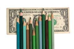 Bleistifte und Geld Lizenzfreies Stockbild