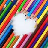 Bleistifte und Herz lizenzfreie stockfotos