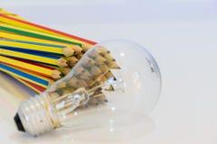 Bleistifte und Lampe Lizenzfreie Stockfotografie