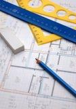 Bleistifte und Pläne Lizenzfreies Stockfoto