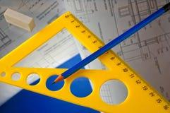 Bleistifte und Pläne Lizenzfreie Stockfotos